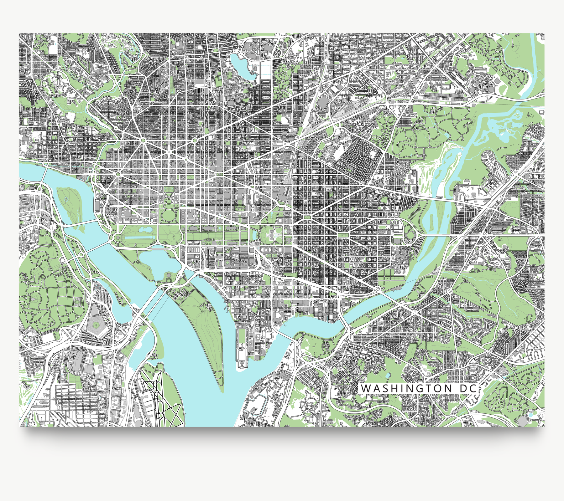 graphic about Washington Dc Printable Map referred to as Washington DC Map Print, United states of america, Gray
