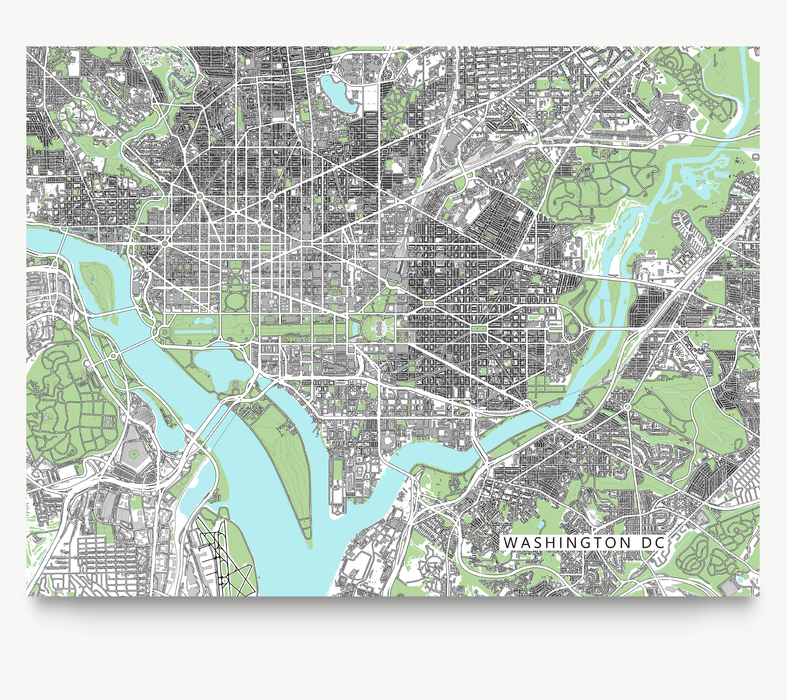 Washington DC map art print with city streets and buildings designed by Maps As Art.