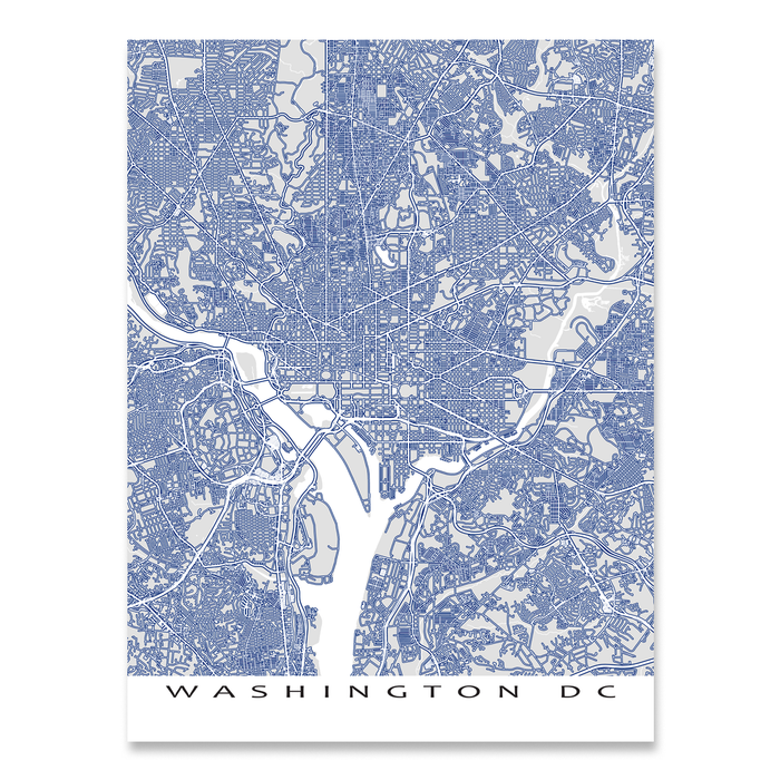 Washington DC map print with main roads in Navy designed by Maps As Art.