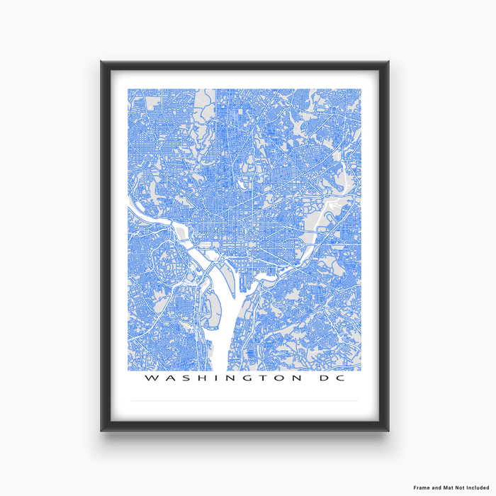 Washington DC map print with main roads in Blue designed by Maps As Art.