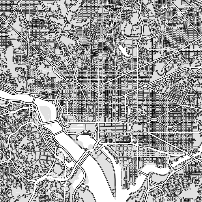 Washington DC map print close-up with main roads designed by Maps As Art.