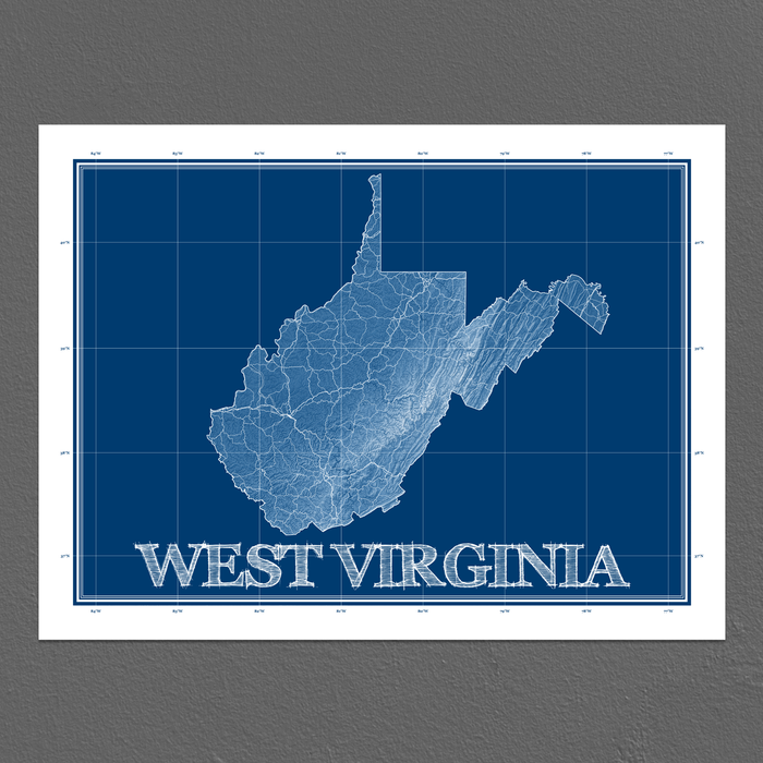 West Virginia state blueprint map art print designed by Maps As Art.