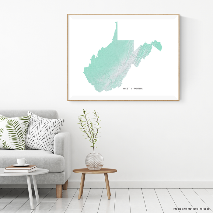 West Virginia state map print with natural landscape in aqua tints designed by Maps As Art.