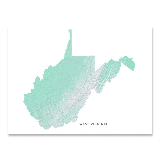 West Virginia Map Print, Aqua Landscape