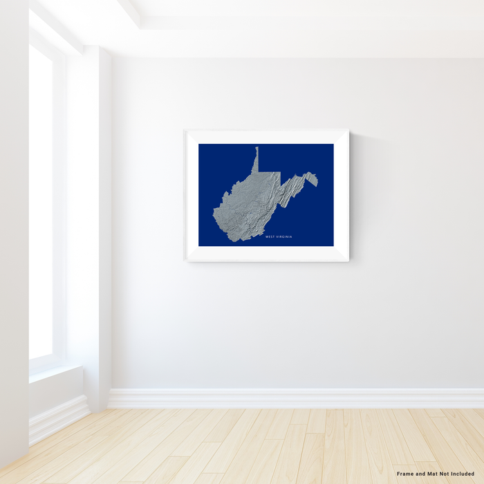 West Virginia state map print with natural landscape in greyscale and a navy blue background designed by Maps As Art.