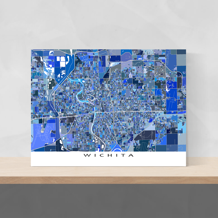 Wichita, Kansas map art print in blue shapes designed by Maps As Art.