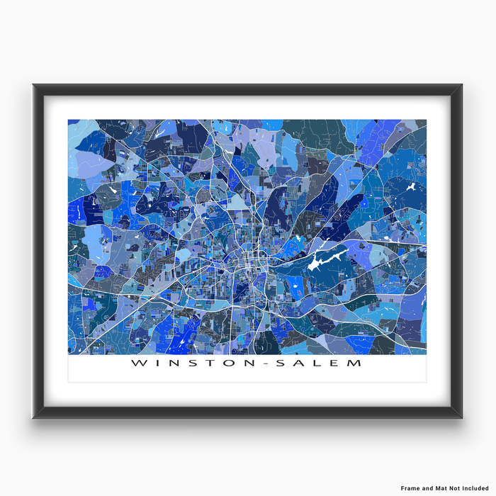 Winston-Salem, North Carolina map art print in blue shapes designed by Maps As Art.