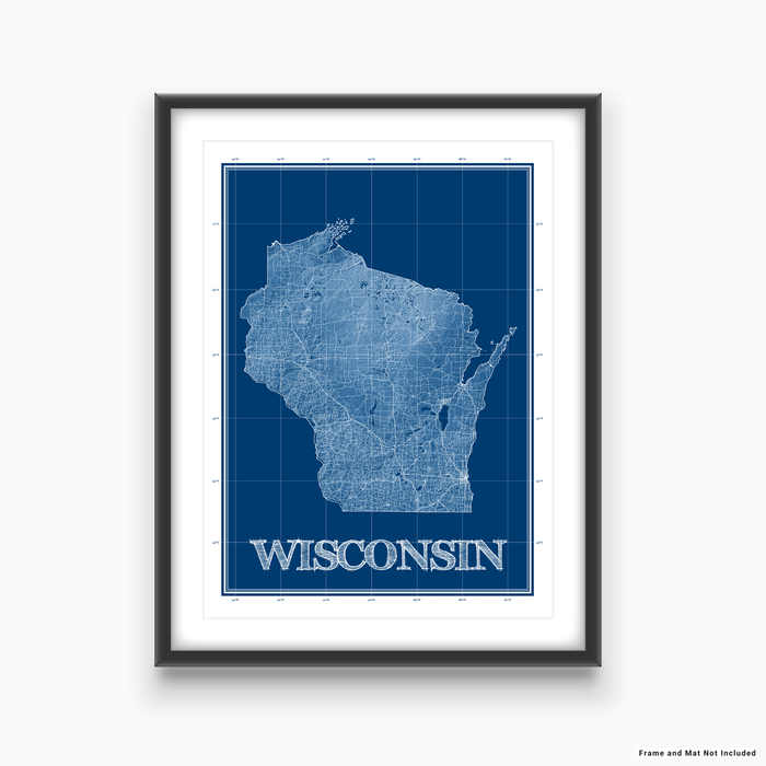 Wisconsin state blueprint map art print designed by Maps As Art.
