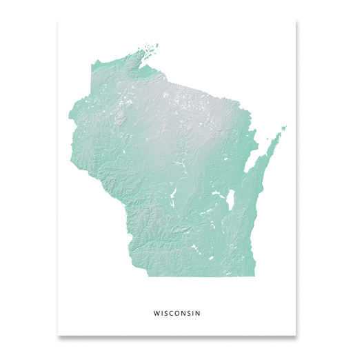 Wisconsin state map print with natural landscape in aqua tints designed by Maps As Art.