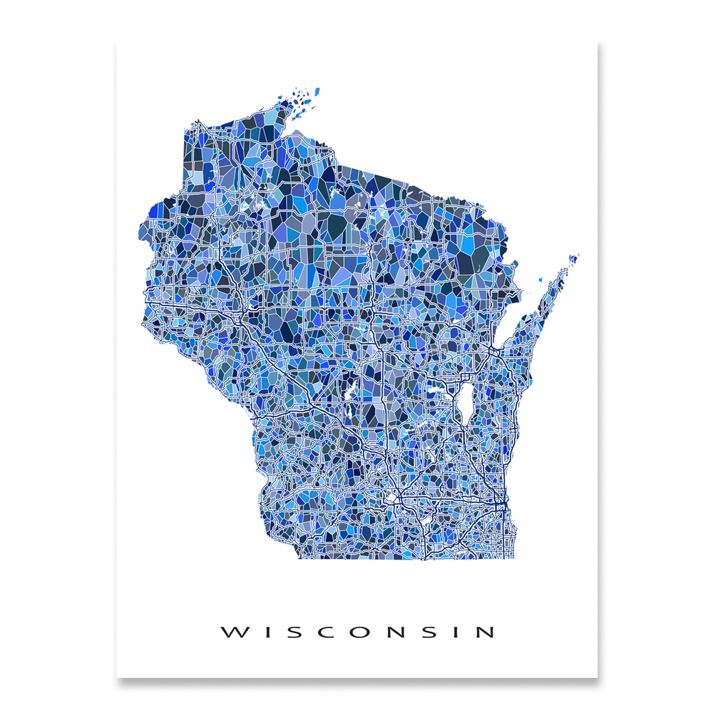 Wisconsin Map Print, WI State