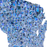 Wisconsin state map art print in blue shapes designed by Maps As Art.