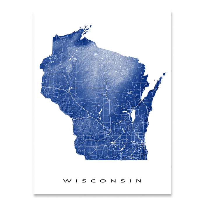 Wisconsin state map print with natural landscape and main roads in Navy designed by Maps As Art.