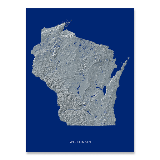 Wisconsin Map Print, Navy Landscape