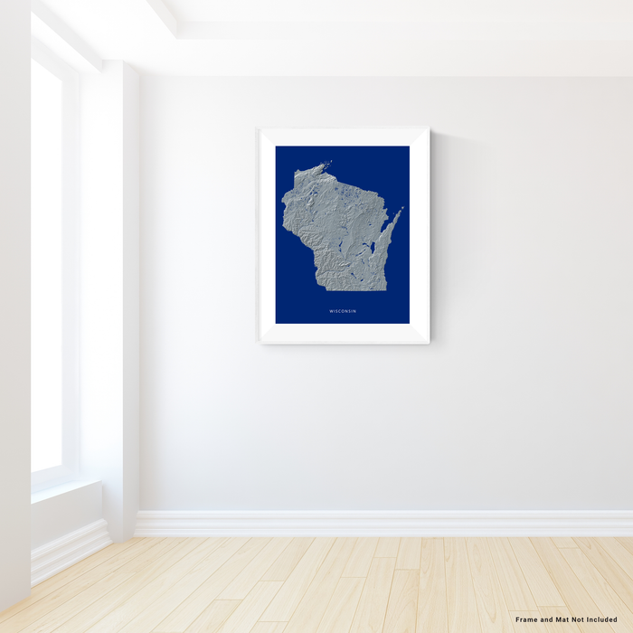 Wisconsin state map print with natural landscape in greyscale and a navy blue background designed by Maps As Art.