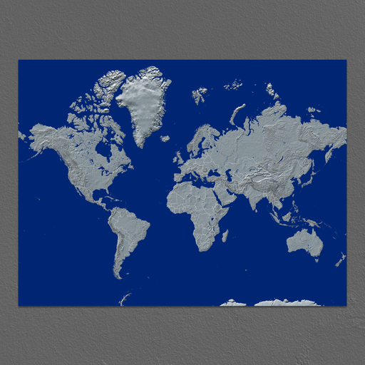 World Map Print, Navy Landscape