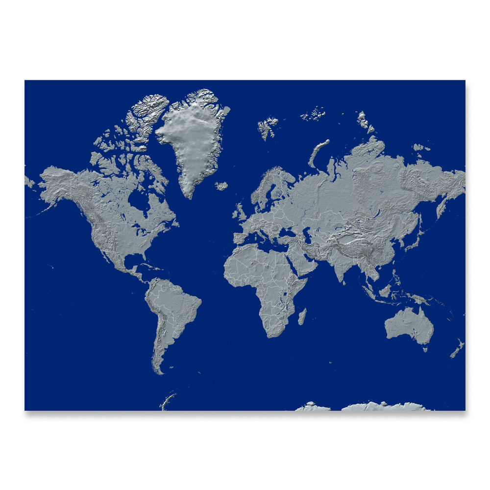 World map print with natural landscape in greyscale and a navy blue background designed by Maps As Art.