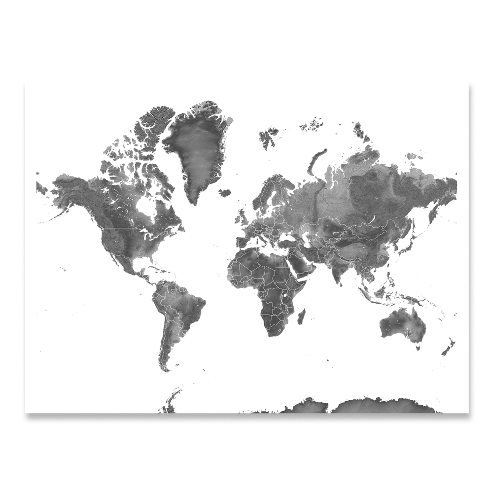World map print with natural landscape in greyscale designed by Maps As Art.