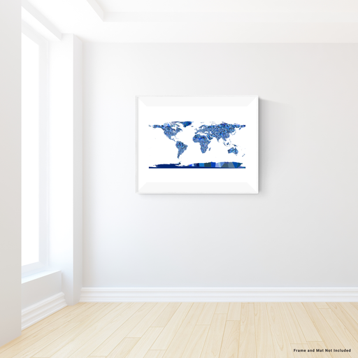 World Map Print, Countries, Blue, Earth
