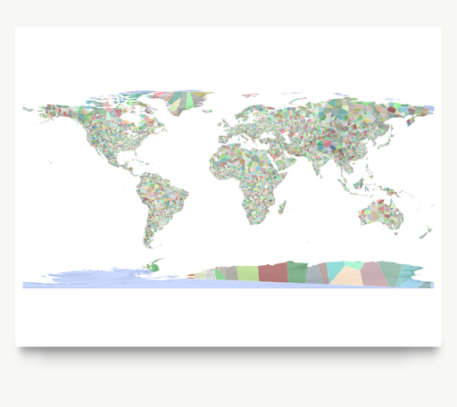 World map art print in colorful shapes designed by Maps As Art.