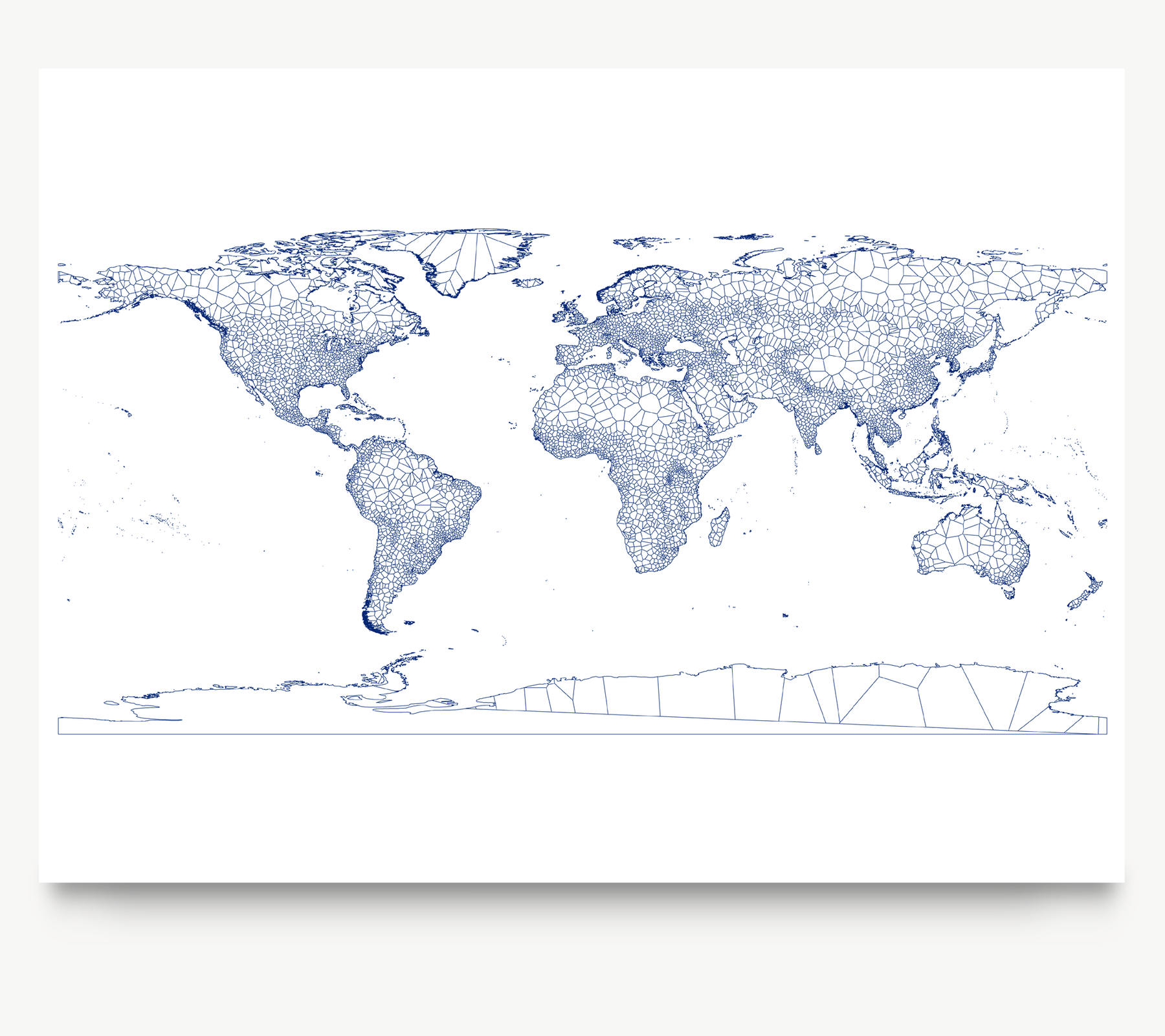 Geometric map of the world in Navy designed by Maps As Art.
