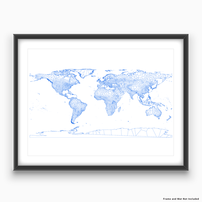 Geometric map of the world in Blue designed by Maps As Art.