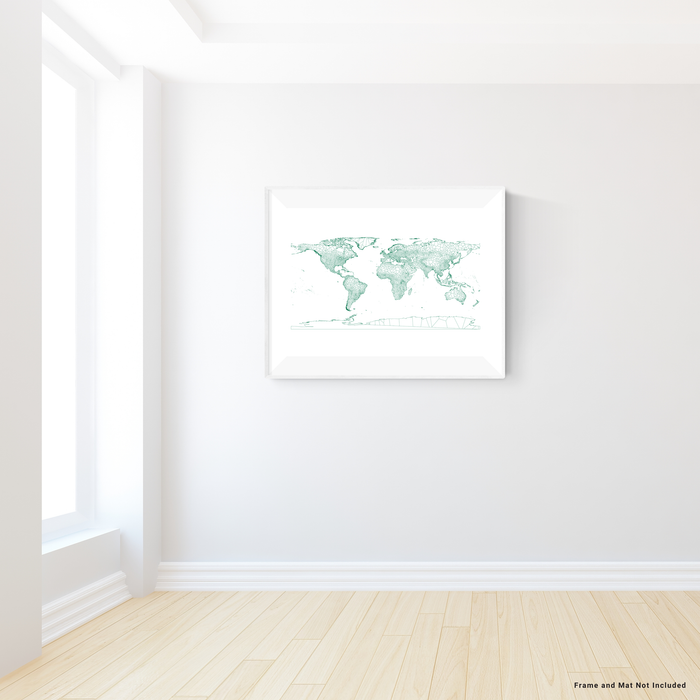 Geometric map of the world in Green designed by Maps As Art.
