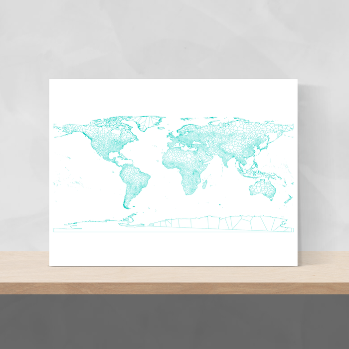 Geometric map of the world in Turquoise designed by Maps As Art.