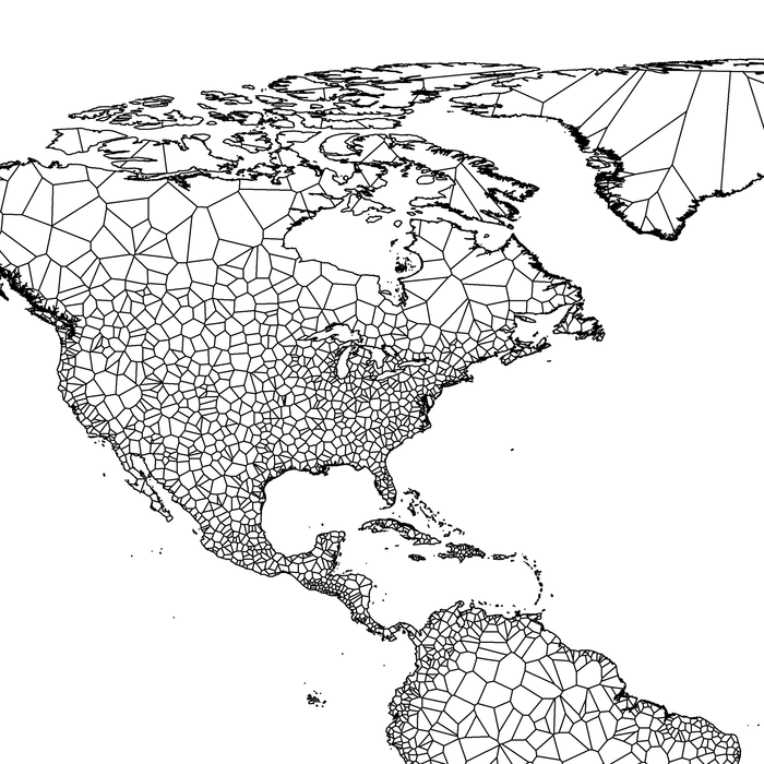 Geometric map of the world designed by Maps As Art.