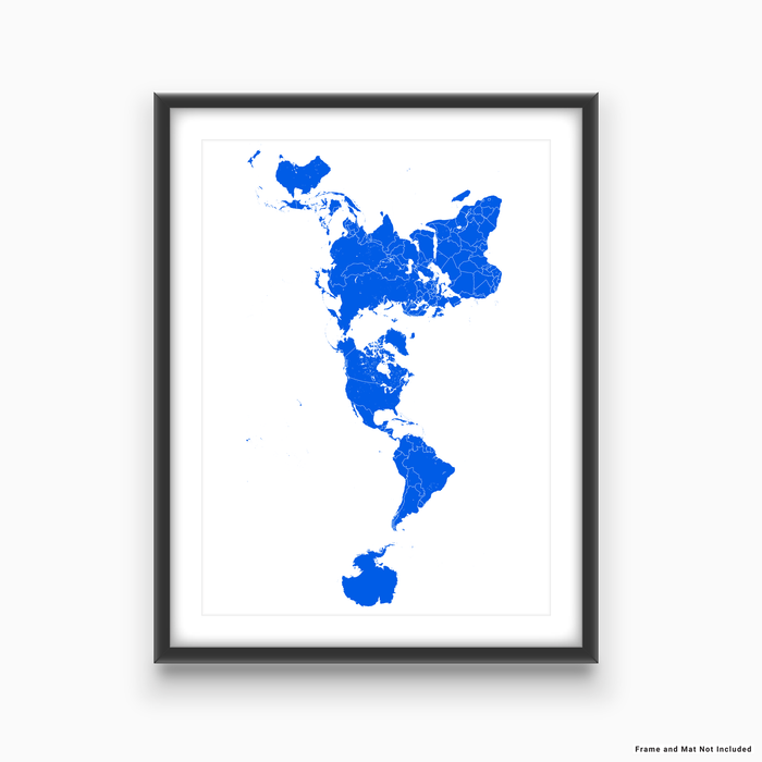 World map print with country boundaries in  designed by Maps As Art.