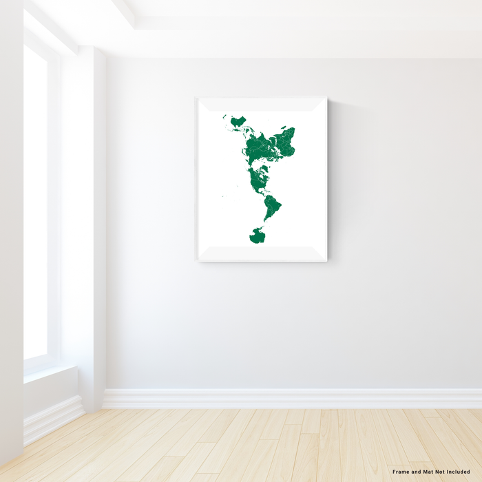 World map print with country boundaries in Green designed by Maps As Art.