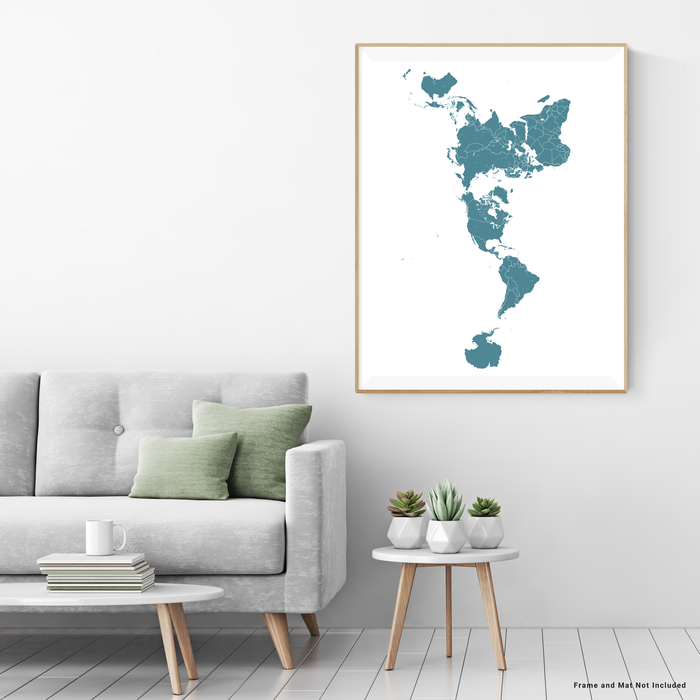 World map print (portrait orientation) with country boundaries in Marine designed by Maps As Art.