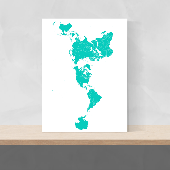 World map print with country boundaries in Turquoise designed by Maps As Art.