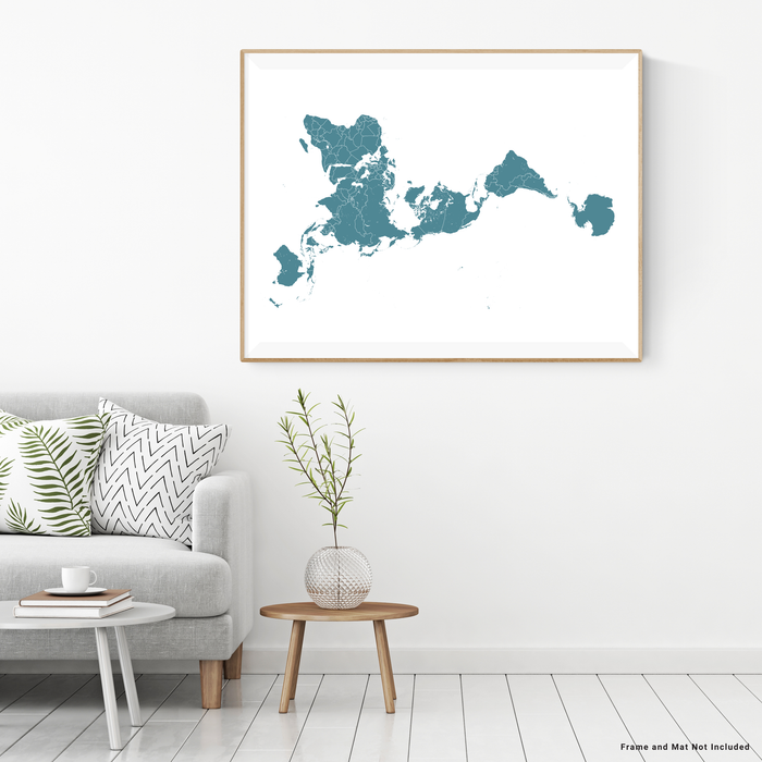 World map print (landscape orientation) with country boundaries in Marine designed by Maps As Art.