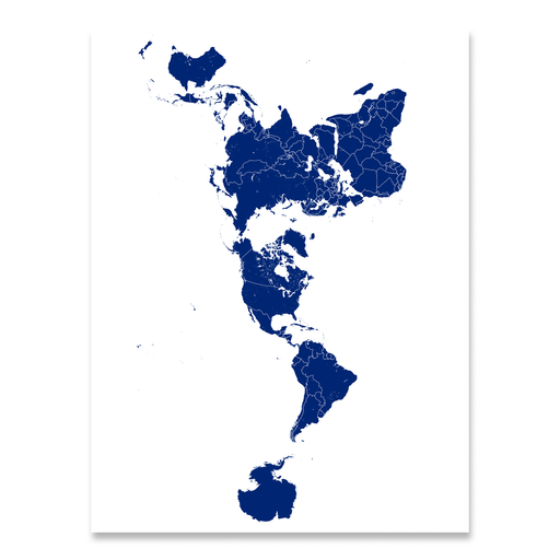 World map print with country boundaries in Navy designed by Maps As Art.