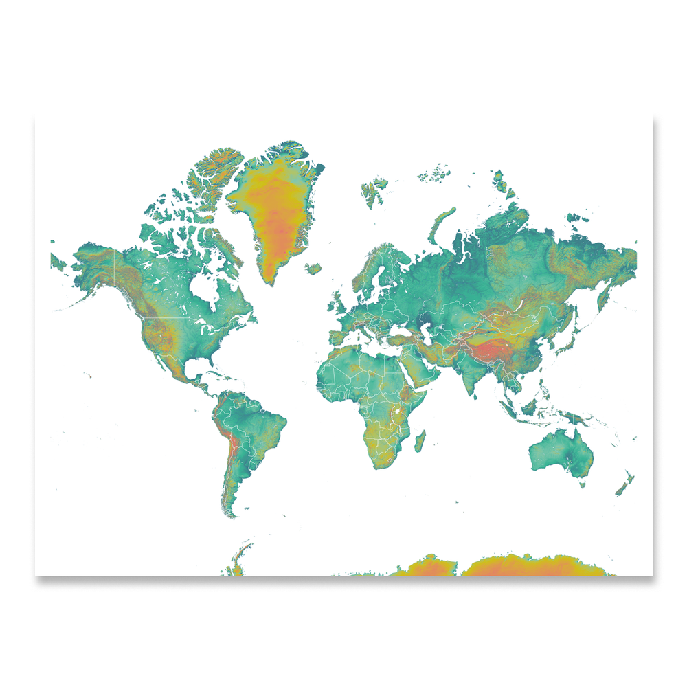 World map print with natural landscape in a range of turquoise, yellow and orange colors designed by Maps As Art.
