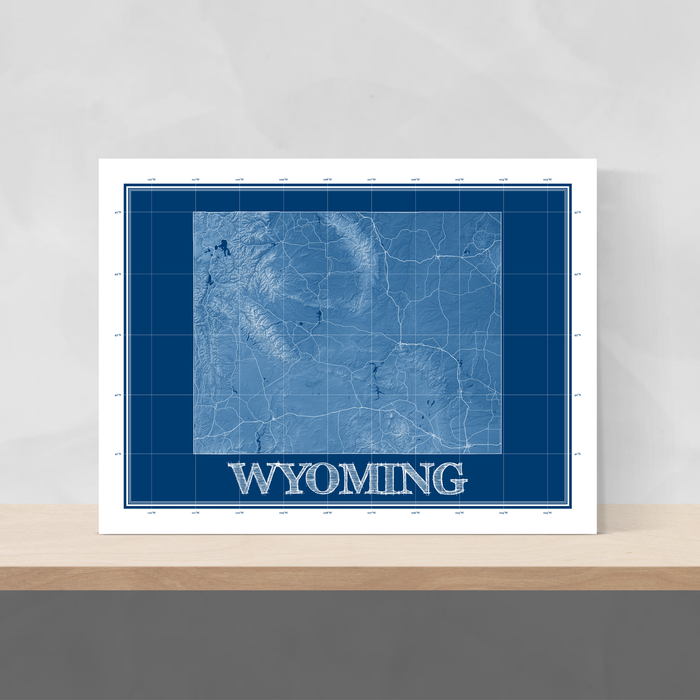 Wyoming state blueprint map art print designed by Maps As Art.