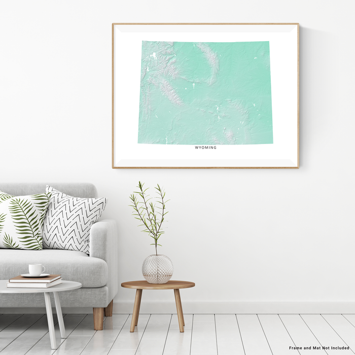 Wyoming state map print with natural landscape in aqua tints designed by Maps As Art.