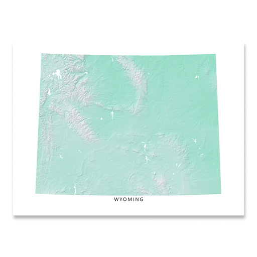 Wyoming Map Print, Aqua Landscape