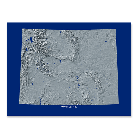 Wyoming Map Print, Navy Landscape