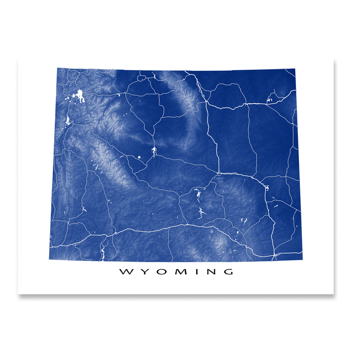 Wyoming Map Print, USA State, WY