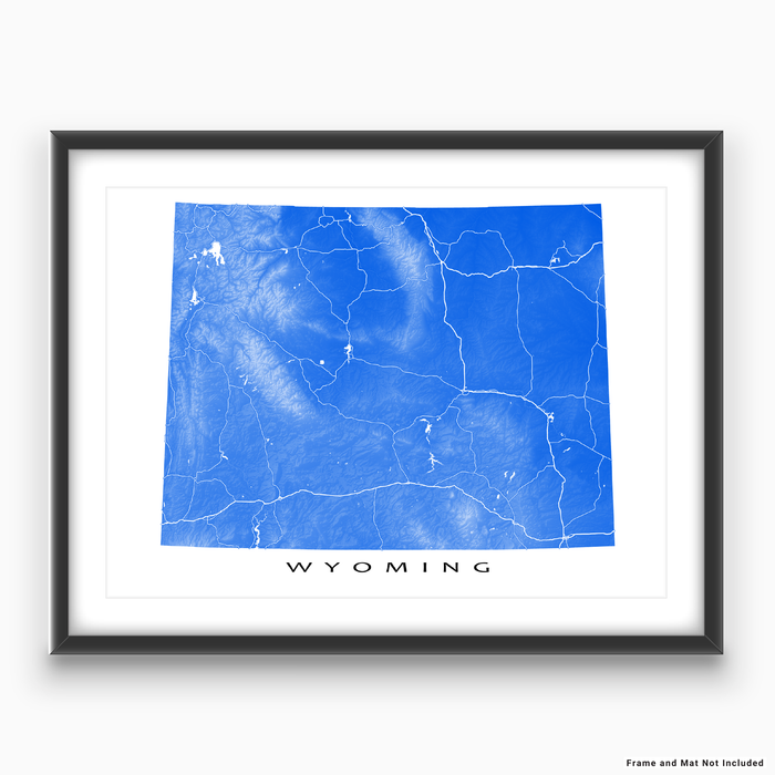 Wyoming map print with natural landscape and main roads in Blue designed by Maps As Art.