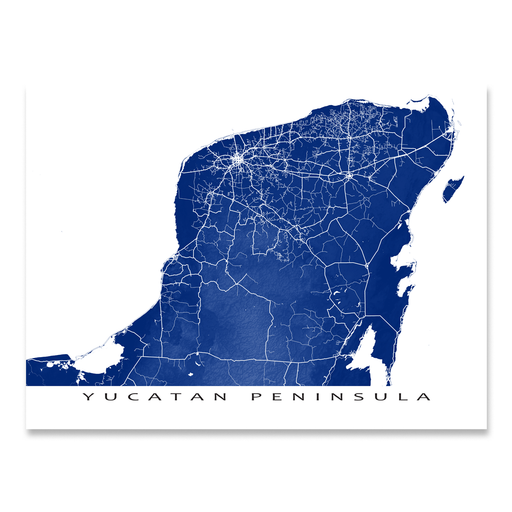 Yucatan Peninsula, Mexico map print with natural landscape and main roads in Navy designed by Maps As Art.