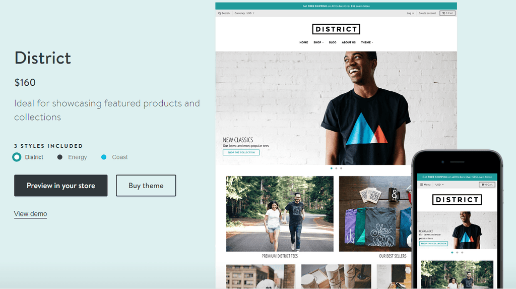 Shopify District theme