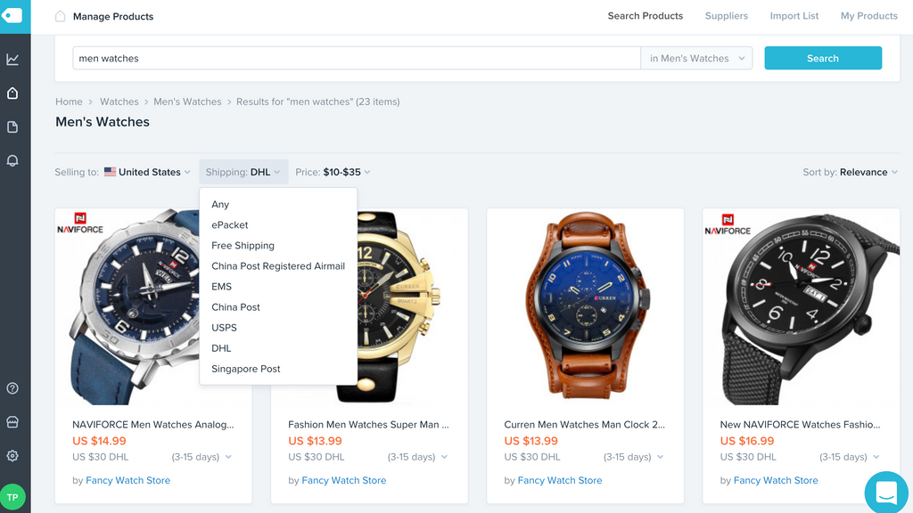 search product oberlo