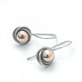Gold and Sterling Silver Ball Earrings