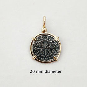Atocha Sterling Silver Coin Replica Pendant with 14k Gold Setting and Bale