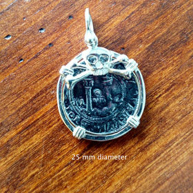 "Atocha Sterling Silver Coin Replica Pendant ""Skull and Crossbones"" Coin"