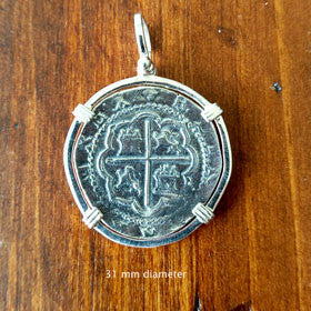 Atocha Coin Replica Pendant Set in Sterling Silver