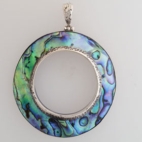 Abalone Circle Pendant Set in Sterling Silver