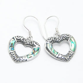 Abalone Heart Sterling Silver Earrings